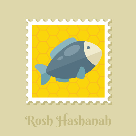Fish. Rosh Hashanah stamp. Shana tova. Happy and sweet new year in Hebrew