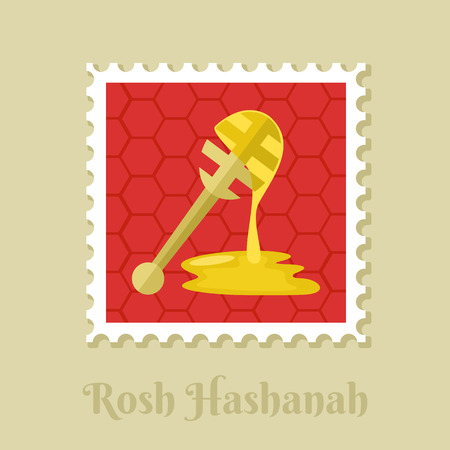 Honey dipper. Rosh Hashanah stamp. Shana tova. Happy and sweet new year in Hebrew