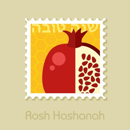 Garnet. Rosh Hashanah stamp. Shana tova. Happy and sweet new year in Hebrew