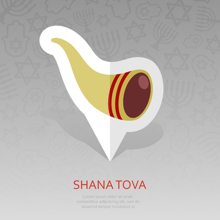Shofar. Rosh Hashanah pin map icon. Shana tova Map pointer. Happy and sweet new year in Hebrew. Map marker. Graph symbol for your web site design,   app, UI. Vector illustration Illustration