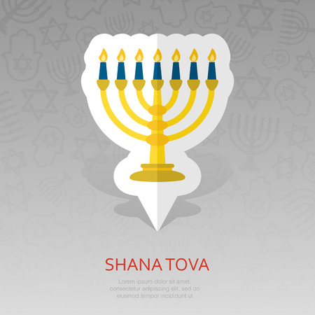 Menorah. Rosh Hashanah pin map icon. Shana tova Map pointer. Happy and sweet new year in Hebrew. Map marker. Graph symbol for your web site design,   app, UI. Vector illustration 向量圖像