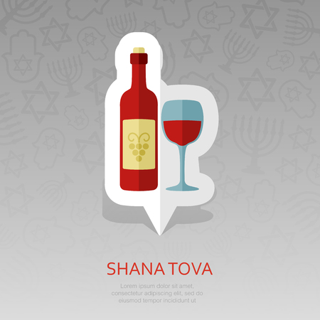 Bottle of wine and glass. Rosh Hashanah pin map icon. Shana tova Map pointer. Happy and sweet new year in Hebrew. Map marker. Graph symbol for your web site design,   app, UI. Vector illustration