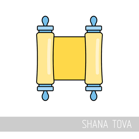 Torah scroll. Rosh Hashanah icon. Shana tova. Happy and sweet new year in Hebrew