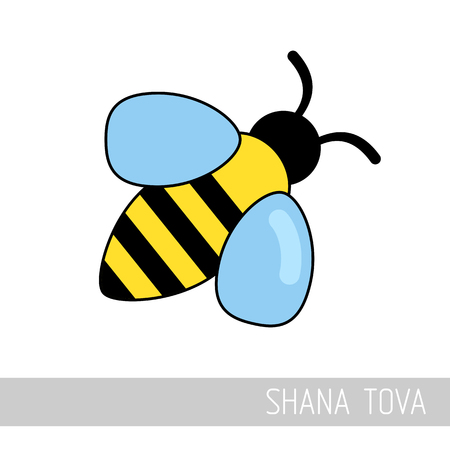 Bee. Rosh Hashanah icon. Shana tova. Happy and sweet new year in Hebrew