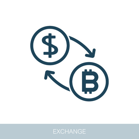 Bitcoin to dollar exchange icon. Vector design of blockchain technology, bitcoin, altcoins, cryptocurrency mining, finance, digital money market