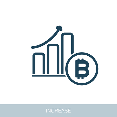 Savings, increasing columns of gold coins. Bitcoin growth concept. Vector design of blockchain technology, bitcoin, altcoins, cryptocurrency mining, finance, digital money market