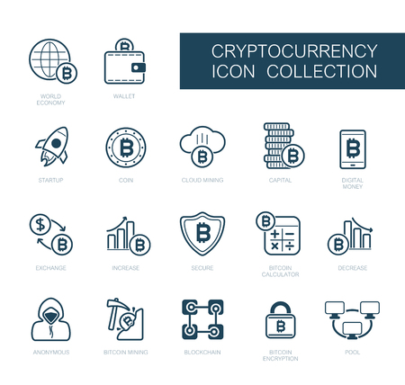 Cryptocurrency and blockchain icons. Vector design of blockchain technology, bitcoin, altcoins, cryptocurrency mining, finance, digital money market Stock Illustratie