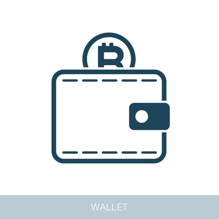 Crypto wallet vector icon. Vector design of blockchain technology, bitcoin, altcoins, cryptocurrency mining, finance, digital money market