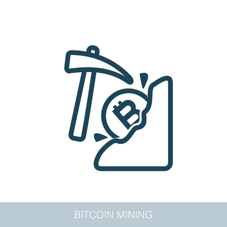 Mining bitcoin icon. Vector design of blockchain technology, bitcoin, altcoins, cryptocurrency mining, finance, digital money market Иллюстрация