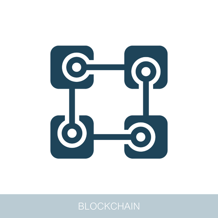 Blockchain vector icon. Vector design of blockchain technology, bitcoin, altcoins, cryptocurrency mining, finance, digital money market