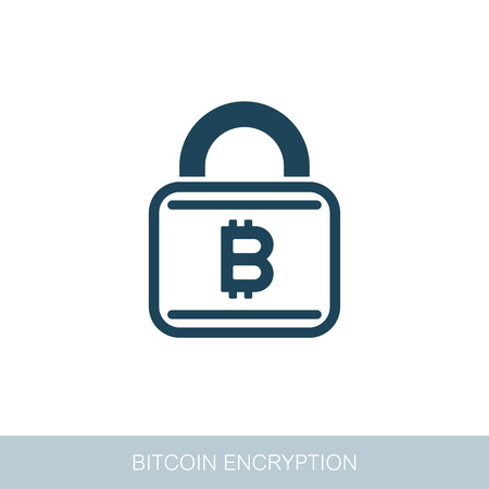 Bitcoin encryption icon. Vector design of blockchain technology, bitcoin, altcoins, cryptocurrency mining, finance, digital money market