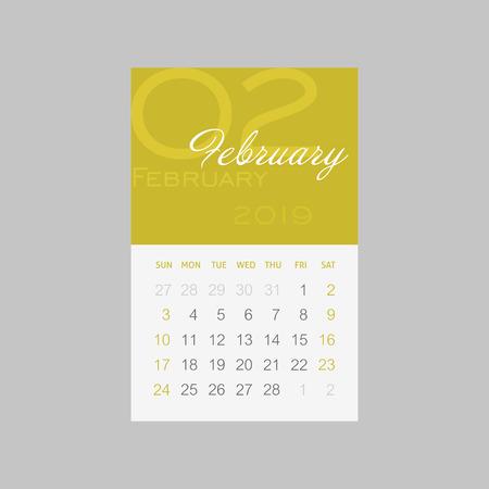 Calendar 2019 months February. Week starts from Sunday, eps 10