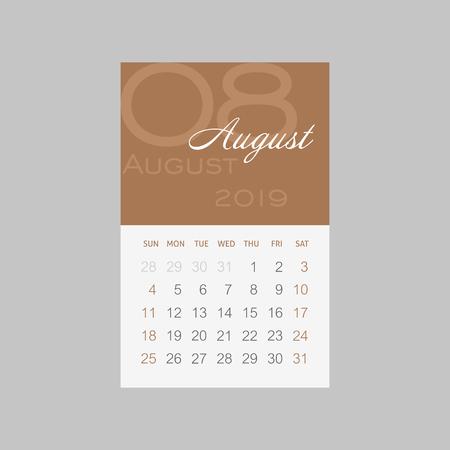 Calendar 2019 months August. Week starts from Sunday, eps 10