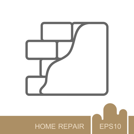 Brick wall with plaster or plastering icon. Construction, repair and finishing works, vector design and illustration