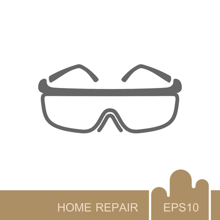 Safety goggles icon. Construction, repair and building vector design and illustration 免版税图像 - 118430764