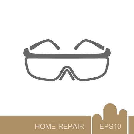 Veiligheidsbril icoon. Ontwerp en illustratie van bouw, reparatie en bouw