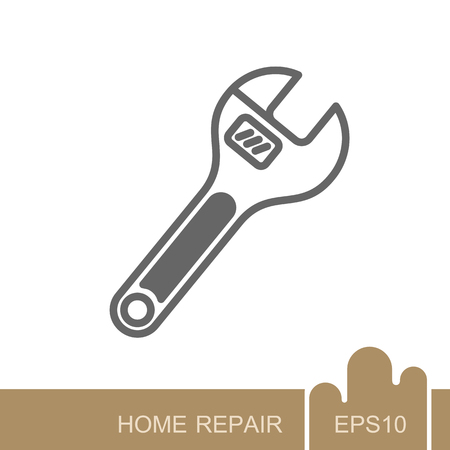Adjustable spanner icon. Construction, repair and building vector design and illustration