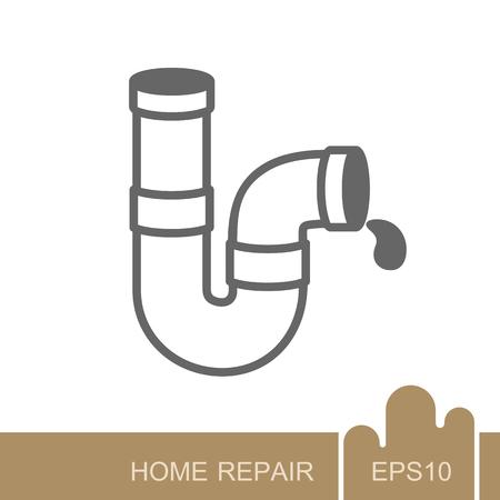 Icono de tuberías de plomería. Construcción, reparación y construcción de diseño e ilustración vectorial