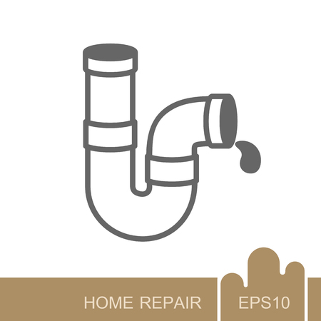 Plumbing pipes icon. Construction, repair and building vector design and illustration