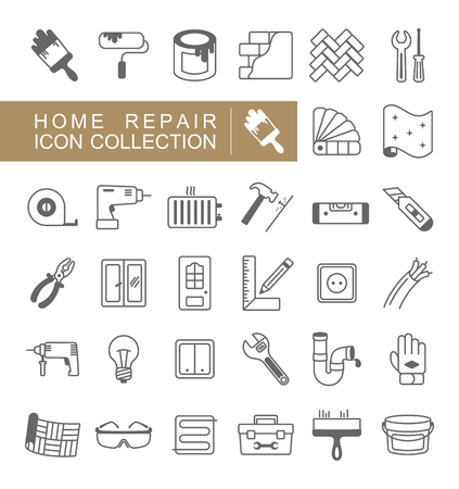 Set of building construction and home repair icons. Vector design and illustration Фото со стока - 118489176