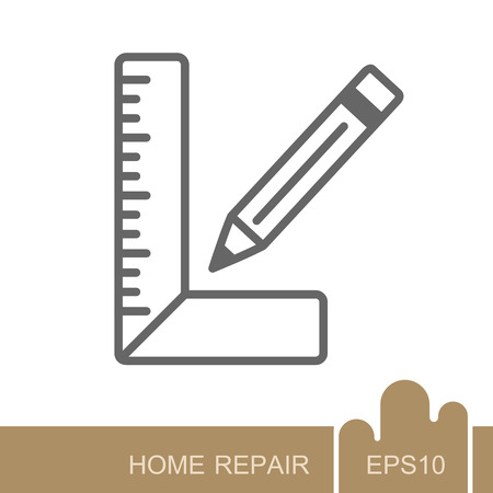 Carpenter square and pencil icon. Construction, repair and building vector design and illustration Ilustrace