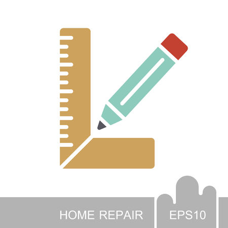 Carpenter square and pencil icon. Construction, repair and building vector design and illustration Illustration