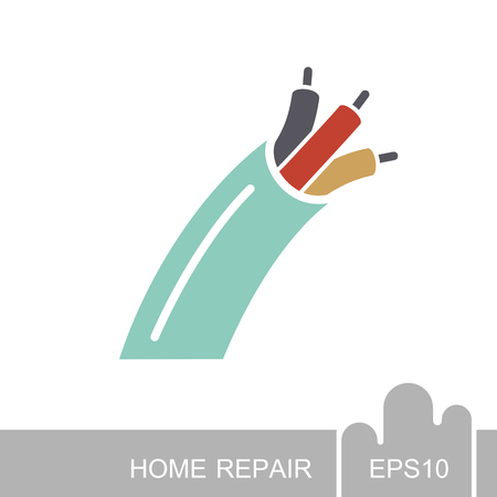 Electric cable icon. Construction, repair and building vector design and illustration