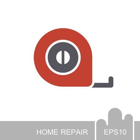 Tape measure icon. Construction, repair and building vector design and illustration Illustration