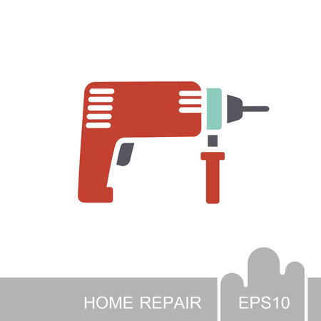 Electric hammer drill icon. Household electric instrument for boring wood and metal with screwdriver function. Perforator vector illustration