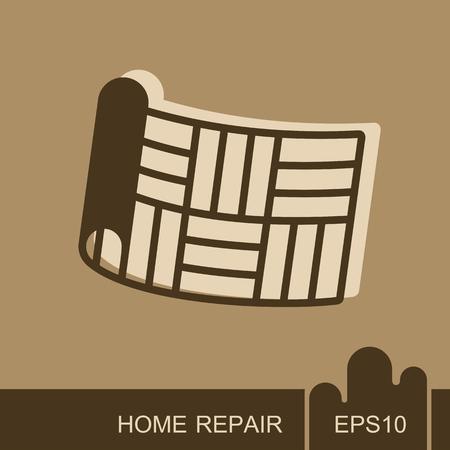 Linoleum roll icon. Interior design and home repair