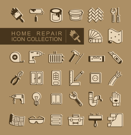 Set of building construction and home repair icons. Vector design and illustration