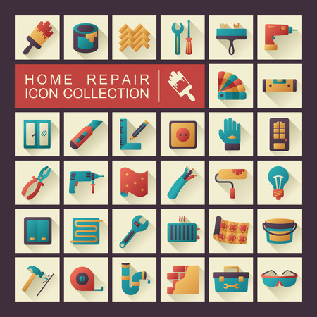 Set of building construction and home repair icons. Vector design and illustration Фото со стока - 121040199