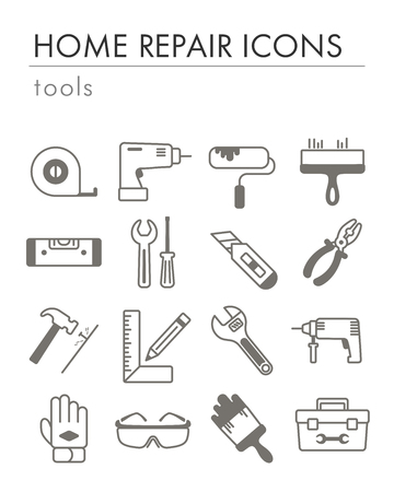 Building, construction and home repair tools icons. Vector design and illustration Иллюстрация