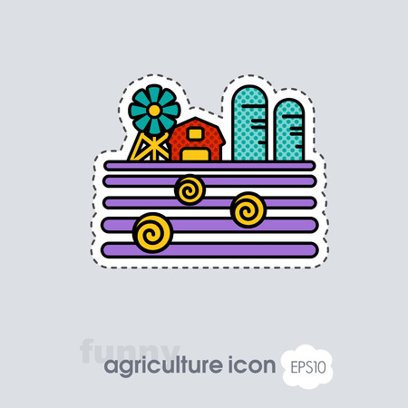 Farm landscape with barn, windpump, haystack and granary icon. Agriculture sign. Graph symbol for your web site design, app, UI. Vector illustration .