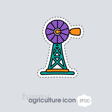 Wind pump flat icon. Agriculture sign. Graph symbol for your web site design, logo, app, UI. Vector illustration, EPS10.