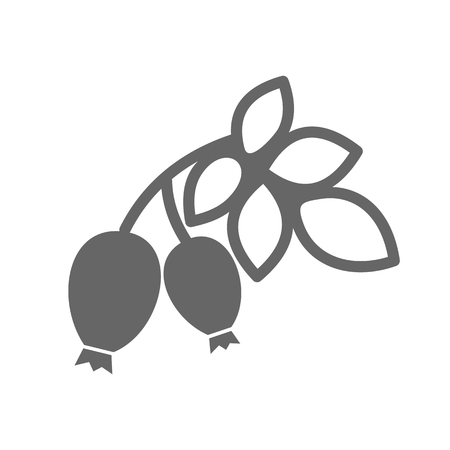 Rosehip branch with red berries outline icon. Berry fruit sign. Vector illustration for food apps and websites