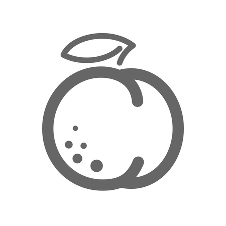 Peach or nectarine with leaf outline icon. Peach fruit sign. Vector illustration for food apps and websites