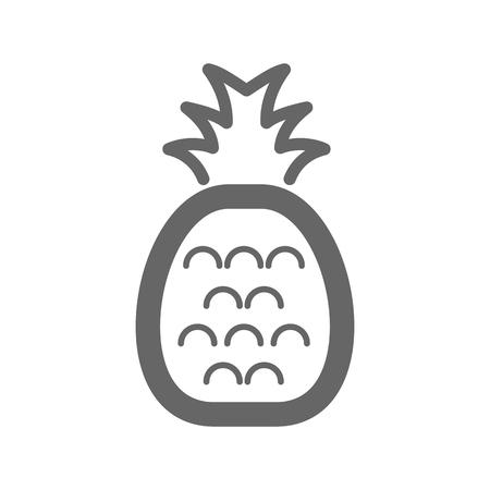 Ananas con icona di contorno foglia. Segno di frutta tropicale di ananas. Illustrazione vettoriale per app e siti Web di cibo