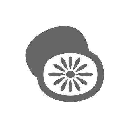 Kiwi fruit, kiwifruit or Chinese gooseberry outline icon. Vector illustration for food apps and websites Illustration