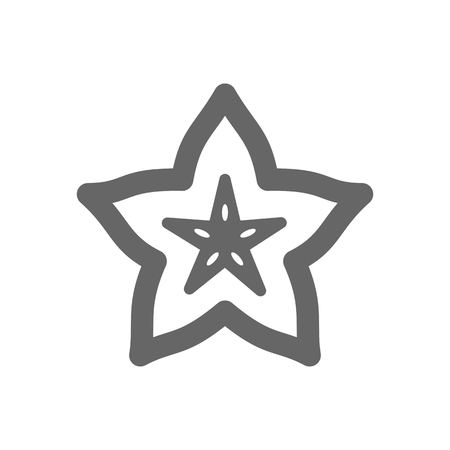 Starfruit Carambola Carom outline icon. Tropical fruit sign. Vector illustration for food apps and websites
