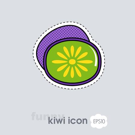 Kiwi fruit, kiwifruit or Chinese gooseberry icon. Vector illustration for food apps and websites