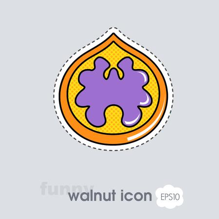 Walnut icon. Walnut fruit sign. Vector illustration for food apps and websites