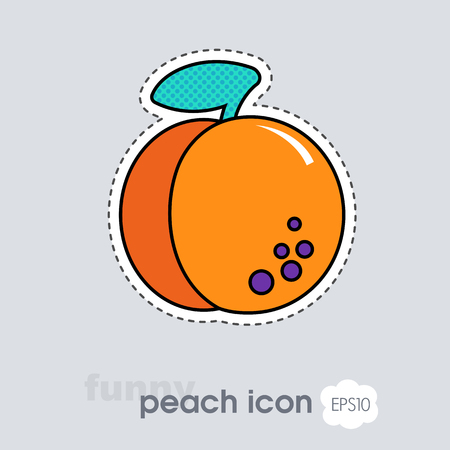 Peach or nectarine with leaf icon. Peach fruit sign. Vector illustration for food apps and websites Ilustração