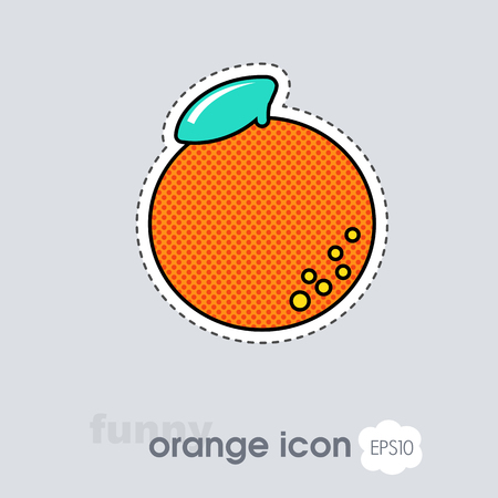Orange with leaf icon. Orange citrus fruit sign. Vector illustration for food apps and websites