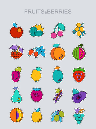 Set of Fruits and Berries icons set. Vector illustration for food apps and websites
