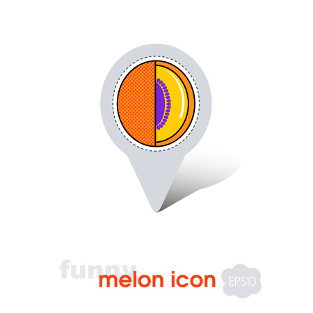 Melon pin map icon. Melon fruit sign. Map pointer. Map markers. Vector illustration for food apps and websites Standard-Bild - 123124771