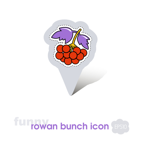 Rowan branch pin map icon. Rowan berry fruit sign. Map pointer. Map markers. Vector illustration for food apps and websites Illustration