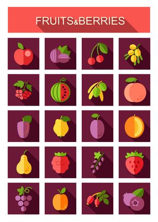Ensemble d'icônes de fruits et de baies. Illustration vectorielle pour les applications alimentaires et les sites Web Vecteurs