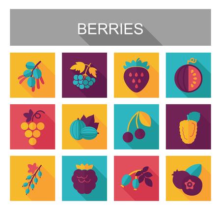 Frische Beeren-Symbole gesetzt. Vektorillustration für Lebensmittel-Apps und -Websites