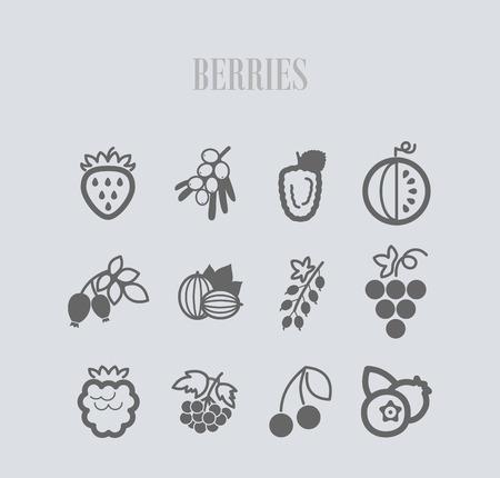 Frische Beeren-Symbole gesetzt. Vektorillustration für Lebensmittel-Apps und -Websites Vektorgrafik